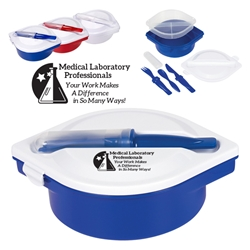 Medical Laboratory Professionals: Your Work Makes A Difference in So Many Ways! On The Go Lunch Kit   Multi-Compartment Food Container With Utensils, Medical Lab Theme, Multi-Compartment, Food Container, with, Utensils, Imprinted, Personalized, Promotional, with name on it, giveaway,