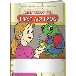 Meet Freddy the First Aid Frog Coloring Book Meet Freddy the First Aid Frog Coloring Book, Imprinted, Personalized, Promotional, with name on it, Giveaway, BetterLifeLine, BetterLife, Education, Educational, information, Informational, Wellness, Guide, Brochure, Paper, Low-cost, Low-Price, Cheap, Instruction, Instructional, Booklet, Small, Reference, Interactive, Learn, Learning, Read, Reading, Health, Well-Being, Living, Awareness, ColoringBook, ActivityBook, Activity, Crayon, Maze, Word, Search, Scramble, Entertain, Educate, Activities, Schools, Lessons, Kid, Child, Children, Story, Storyline, Stories, Safe, Safety, Protect, Protection, Hurt, Accident, Violence, Injury, Danger, Hazard, Emergency, First Aid