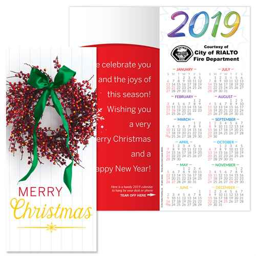 Christmas 2019 Calendar.Merry Christmas 2019 Gold Foil Stamped Holiday Greeting Card