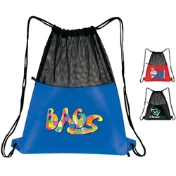 Mesh Drawstring Pack All Purpose, Backpack, Drawstring, Nylon, Mesh, Promotional, Imprinted, Gift, Reusable
