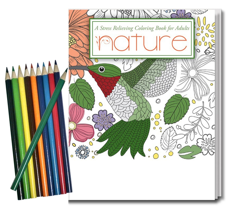 Nature Stress Relieving Coloring Book For Adults & Colored Pencils Set