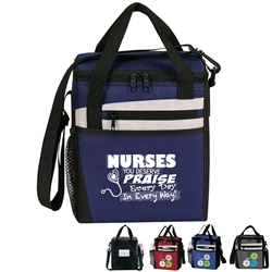 """Nurses: You Deserve Praise Every Day in Every Way!"" Rocket 12 Pack Cooler   Nuring theme lunch bag, Nurses theme lunch bag, Nurses week Theme lunch bag, lunch cooler, Rocket, 12 Pack Cooler, Plus, Continental Marketing, Care Promotions, Lunch Bag, Insulated, Barrel, Travel, Employee, Nurses, Teachers, Volunteers, Healthcare, Staff Gifts"
