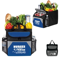 """Nurses: You Deserve Praise Every Day in Every Way!"" 12-Pack Cooler Plus Collapsible Cube Nurses Theme 12 Pack Cooler Plus Collapsible Cube, Cooler and Trunk Cube, Continental Marketing, Care Promotions, Lunch Bag, Insulated, Barrel, Travel, Employee, Nurses, Teachers, Volunteers, Healthcare, Staff Gifts"