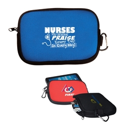 """Nurses: You Deserve Praise Every Day in Every Way!"" All-Purpose Accessory Pouch    Nurses, Week, Appreciation, Theme, accessory zippered pouch, carabiner pouch, carabiner tec holder, carabiner phone holder,"