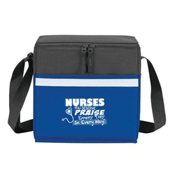 """Nurses: You Deserve Praise Every Day in Every Way!"" Two-Tone Accent 12-Pack Cooler   two tone, cooler, accent, lunch bag, 12 pack cooler, Promotional, Imprinted, Polyester, Travel, Custom, Personalized, Bag"