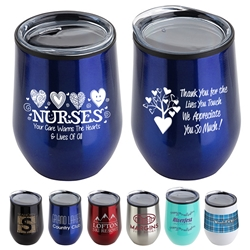 """Nurses: Your Care Warms The Hearts & Lives Of All"" 12 oz Stainless Steel/Polypropylene Wine Goblet Nurses Theme Wine Tumbler, Nurses Goblet, 11 oz wine goblet, wine holder, wine tumbler, Stainless Steel Wine Holder, 10 oz tumbler, Imprinted Tumblers, Stainless Steel Tumblers, Care Promotions,"