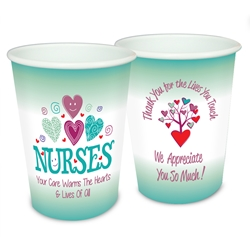 """Nurses: Your Care Warms The Hearts & Lives Of All"" 17 oz Reusable Plastic Cups   Nurses Week Theme Party Cup, Nurses party theme cup, Decorative Nurses Cup, Recognition, Cups, Plastic Appreciation Cups, Nursing Team Theme Cups, Plastic Party Appreciation Cups, Promotional,"