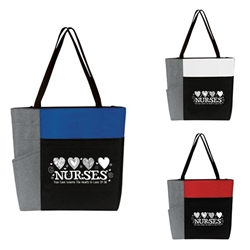 """Nurses: Your Care Warms The Hearts & Lives Of All"" Color Block Pocket Zip Tote  Nurses Week theme tote, Nurses Appreciation Tote, Recognition, Color, block, Zip, Multi-Function, Luggage Loop Tote Bag, tote, Imprinted, Travel, Custom, Personalized, Bag"