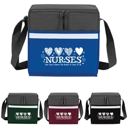 """Nurses: Your Care Warms The Hearts & Lives Of All"" Two-Tone Accent 12-Pack Cooler   two tone, cooler, accent, lunch bag, 12 pack cooler, Promotional, Imprinted, Polyester, Travel, Custom, Personalized, Bag"