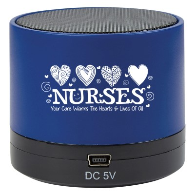 """Nurses: Your Care Warms The Hearts & Lives Of All"" Wireless Mini Cylinder Speaker  Nurses theme Speaker, Blue Tooth Speaker Nursing, Team, Gifts, Theme, Wireless, mini, speaker, Bluetooth, 4.1, tech gifts, technology, ideas, Imprinted, Personalized, Promotional, with name on it, giveaway,"