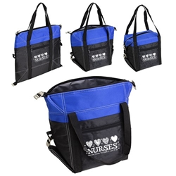 """Nurses: Your Care Warms The Hearts & Lives Of Others"" Glacier Convertible Cooler Bag Nurses Theme Lunch Cooler, Nurses Lunch Cooler Tote, Convertible Cooler, Imprinted, With Logo, promotional products,"