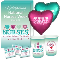 """Nurses: Your Care Warms the Hearts & Lives of All"" Celebration Party Pack    Nurses theme decoration pack,  Nurses theme Party Pack, Nurses Celebration Pack, Nurses Appreciation, Week, Nurses theme Celebration Pack"