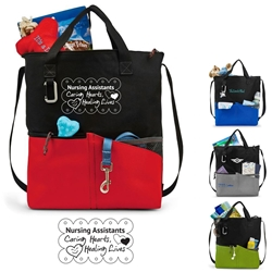Nursing Assistants: Caring Hearts, Healing Lives! Synergy All-Purpose Tote All-Purpose Tote, Tote Bag, Everyday Tote, Promotional, Imprinted, with name on it, logo, custom bag, gift bag, baby bag, diaper bag, fashion bag