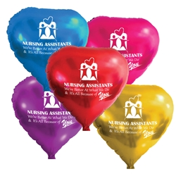 """Nursing Assistants: Were Better at What We Do & Its All Because Of You"" Heart Shaped Foil Balloons (Pack of 10 assorted colors)   Nursing Assistants Week, NA Week, CNA Week, Theme, Nurses, Nursing, foil balloons, mylar, party goods, decorations, celebrations, round shaped balloons, promotional balloons, custom balloons, imprinted balloons"