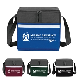 """Nursing Assistants: Were Better at What We Do & Its All Because Of You"" Two-Tone Accent 12-Pack Cooler   Nursing Assistants theme, NA, CNA, two tone, cooler, accent, lunch bag, 12 pack cooler, Promotional, Imprinted, Polyester, Travel, Custom, Personalized, Bag"