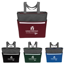 """Nursing Assistants: Were Better at What We Do & Its All Because Of You"" Two-Tone Accent Zip Tote  Nurses theme, two tone, tote, accent, Tote bag, Promotional, Imprinted, Polyester, Travel, Custom, Personalized, Bag"