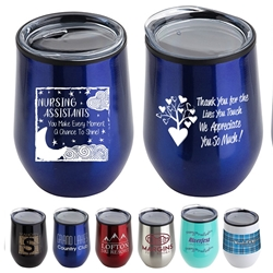 """Nursing Assistants: You Make Every Moment A Chance To Shine"" 12 oz Stainless Steel/Polypropylene Wine Goblet  Nurses Theme Wine Tumbler, Nurses Goblet, 11 oz wine goblet, wine holder, wine tumbler, Stainless Steel Wine Holder, 10 oz tumbler, Imprinted Tumblers, Stainless Steel Tumblers, Care Promotions,"