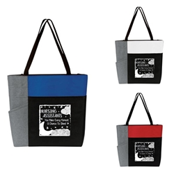 """Nursing Assistants: You Make Every Moment A Chance To Shine"" Color Block Pocket Zip Tote  Nursing Assistants theme tote, CNA Theme Tote, Nurses Appreciation Tote, Recognition, Color, block, Zip, Multi-Function, Luggage Loop Tote Bag, tote, Imprinted, Travel, Custom, Personalized, Bag"