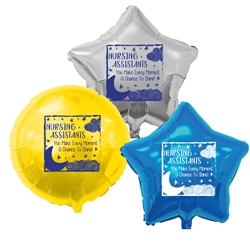 """Nursing Assistants: You Make Every Moment A Chance To Shine! Heart Shaped Foil Balloons (Pack of 10 assorted colors)   Nursing Assistants Week, NA Week, CNA Week, Theme, Nurses, Nursing, foil balloons, mylar, party goods, decorations, celebrations, round shaped balloons, promotional balloons, custom balloons, imprinted balloons"