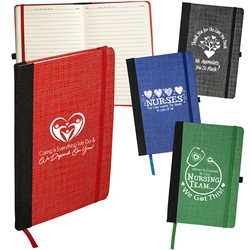 """Nursing & Caring Team Appreciation"" Tonal Non-Woven Journal  promotional journals, custom logo notebooks, employee appreciation gifts, corporate gifts with your logo, promotional products, business gifts, trade show giveaways, custom printed journal book"