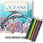 Oceans Stress Relieving Coloring Book for Adults & Colored Pencils Set Coloring Books for Adults, Stress Relief, Adult Coloring Books, promotional coloring books