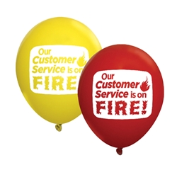"""Our Customer Service Is On FIRE!"" 11"" Standard Latex Balloons (Pack of 60 assorted)   Customer Service Week, Customer Service, Appreciation, Recognition, Latex balloons, party goods, decorations, celebrations, round shaped balloons, promotional balloons, custom balloons, imprinted balloons"