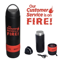 """Our Customer Service Is On FIRE!"" 13 oz. Bluetooth Speaker Vacuum Water Bottle  Customer Service, Appreciation, Recognition, Theme, promotional bluetooth speaker, custom printed vacuum bottle, custom printed bluetooth speaker, corporate holiday gifts, employee appreciation gifts, business gifts"