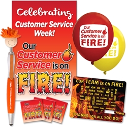 """Our Customer Service Is On FIRE!"" Celebration Pack  Poster, Buttons, Pens, Cups, Celebration Pack, Customer Service, Week, theme Celebration Pack"
