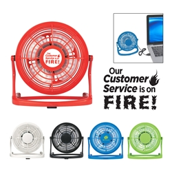 """Our Customer Service Is On FIRE"" USB PLUG-IN FAN (Red) Customer Service, Theme, Gifts, Desk, USB desk fan, desk fan, promotional fan, imprinted desk fan,"