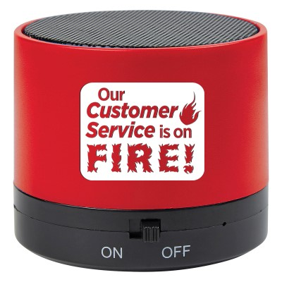"""Our Customer Service Is On FIRE!"" Wireless Mini Cylinder Speaker   Customer Service, Appreciation, Theme, Wireless, mini, speaker, Bluetooth, 4.1, tech gifts, technology, ideas, Imprinted, Personalized, Promotional, with name on it, giveaway,"