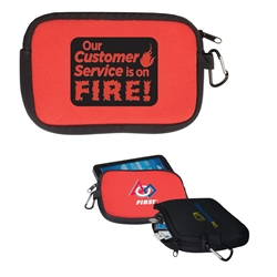 """ Our Customer Service Is On Fire!"" All-Purpose Accessory Pouch  Customer Service, Appreciation, week, Appreciation, Theme, accessory zippered pouch, carabiner pouch, carabiner tec holder, carabiner phone holder,"