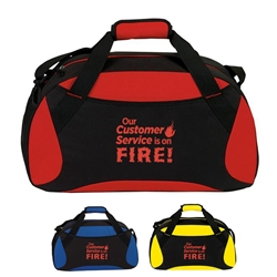 """Our Customer Service Is On Fire!"" All Sport Duffle  Customer Service, Theme, week, appreciation, gift, theme, 19"" Sport, Deluxe, Duffle, Promotional, Imprinted, Polyester, Travel, Custom, Personalized, Bag"