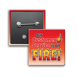 """Our Customer Service is ON FIRE!"" Square Buttons (Sold in Packs of 25)  Customer Service Week, CSRs, Customer Service, Staff, Team, Week, Recognition, Appreciation, Square Button, Buttons, Campaign Button, Safety Pin Button, Full Color Button, Button"