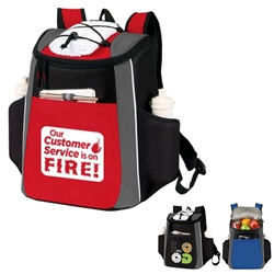 """Our Customer Service is On FIRE!"" Prime 18 Cans Cooler Backpack   Customer Service, Appreciation Recognition, Backpack cooler, Can Cooler, 18 Can Backpack cooler, 18 pack cooler, Imprinted, With Logo, With Name On It"