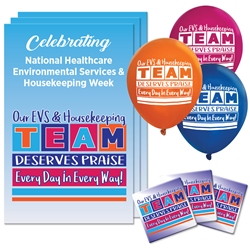 """Our EVS & Housekeeping TEAM Deserves Praise Every Day in Every Way!"" Celebration Pack  Poster, Buttons, Pens, Cups, Decoration, Celebration Pack, housekeeping, housekeepers, EVS, Environmental Services Week, theme Celebration Pack"