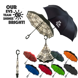 """Our EVS TEAM Shines Bright!"" Reversible Umbrella  reversible umbrella, promotional umbrella, custom logo umbrella, custom printed umbrella, employee appreciation gifts, corporate holiday gifts, thank you gifts"