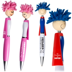 """Our Housekeepers Are SUPER!"" MopTopper™ Superhero Pen Superhero Pen, Pen with Cape, Hero Pen, Mop, Topper, Hair, Top, Smile, Pen, Stylus, Screen Cleaner, Pendant Pen, Pendant, Pen, Pens, Ballpoint, Aluminum, Imprinted, Personalized, Promotional, with name on it, giveaway, black ink"
