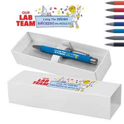 """Our Lab Team: Living The Dream, Rocking The Results"" Bowie Softy Pen & Gift Box  Medical Lab Week, Lab, Team, Professionals, Theme, Decorated, Pen with gift box, Pen and Gift Box, Logo Pen and Gift Box, Imprinted, Personalized, Promotional, with name on it"