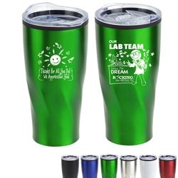 """Our Lab Team: Living The Dream, Rocking The Results"" Oasis 22 oz Stainless Steel & Polypropylene Tumblers   Medical Laboratory Professionals, Lab theme, Lab Rats, Theme, Med Lab Team, Tumbler, Employee Recognition Week Tumbler, Week, Theme, promotional coffee mug, custom logo travel mug, custom logo coffee mug, promotional drinkware, promotional products, promotional tumbler, promotional yeti tumbler, custom logo yeti"