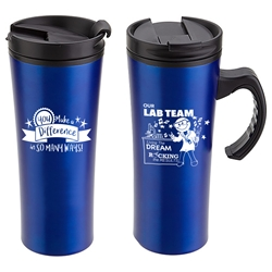 """Our Lab Team: Living The Dream, Rocking The Results"" Outback 16 oz. Travel Mug  Med Lab Week, Theme,  Laboratory Week, Lab Rat Travel Mug, Appreciation Travel Mug, Steel Travel Mug, Under $6 Travel Mug, bottle, promotional drinkware, custom vacuum insulated drinkware, employee wellness gifts, fitness promotional items"