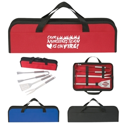 """Our Nursing TEAM is on FIRE!"" 3 Piece BBQ Set In Case Nursing Appreciation BBQ set, Nurses theme Appreciation, 3 piece, barbecue, set, gift, kit, imprinted, with logo, name on it, with, cooking, grilling,"