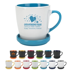 Our Nursing Team: Caring To Make it Better...Today, Tomorrow, Forever! 12 Oz. Two-Tone 2 Piece Coaster Mug 12 Oz. Two-Tone 2 Piece Coaster Mug, nurses, nursing, 12 oz., two-tone, 2-tone, coaster, and, mug, ceramic, coffee, cup, lid, desk, Imprinted, Personalized, Promotional, with name on it, Gift Idea, Giveaway,