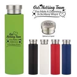 """Our Nursing Team: You Make A Difference In So Many Ways!"" 24 Oz. Stainless Steel V2 Bottle Nursing Theme, 24 Oz Stainless Steel Tumbler, Stainless Steel Mug, Travel Mug, Imprinted, Personalized, Promotional, with name on it"