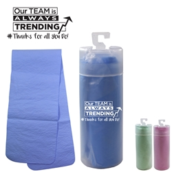 Our TEAM is Always TRENDING...# Thanks For All You Do! Cooling Towel with Tube   Cooling Towel, Cooling Towels Bulk, Cooling towel tube, Cooling towel with logo, imprinted cooling towel, promotional products, employee appreciation, employee recognition, smiley face