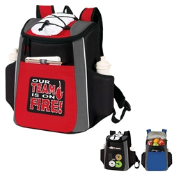"""Our TEAM is ON FIRE!"" Prime 18 Cans Cooler Backpack  Employee Appreciation Backpack cooler, Can Cooler, 18 Can Backpack cooler, 18 pack cooler, Imprinted, With Logo, With Name On It"