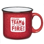 Our TEAM is On FIRE 15 Oz. Campfire Mug  15 Oz. Campfire, Mug, Retro, Granite, Stoneware, Mug, Coffee, Cup, Desk, Beverage, colorful, with, handle,Imprinted, Personalized, Promotional, with name on it, Gift Idea, Giveaway,