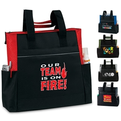 """Our TEAM is On Fire"" On The Go Zip Tote  All Purpose, Event, Polyester, Promotional Events, Trade Show Bags, Health Fair, Imprinted, Tote, Reusable, Recognition, Travel"