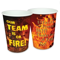 """Our TEAM is on FIRE!"" 17 oz Reusable Plastic Cups  Decorative Recognition Cups, Plastic Appreciation Cups, On Fire Appreciation Theme Cups, Plastic Party Appreciation Cups, Promotional,"