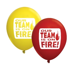 """Our TEAM is on FIRE!"" 11"" Standard Latex Balloons (Pack of 60 assorted)  Latex balloons, party goods, decorations, celebrations, round shaped balloons, promotional balloons, custom balloons, imprinted balloons"