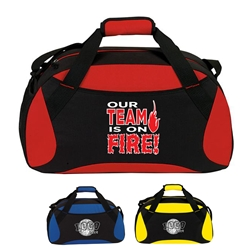 "Our TEAM is on FIRE! All Sport Duffle  19"" Sport, Deluxe, Duffle, Promotional, Imprinted, Polyester, Travel, Custom, Personalized, Bag"